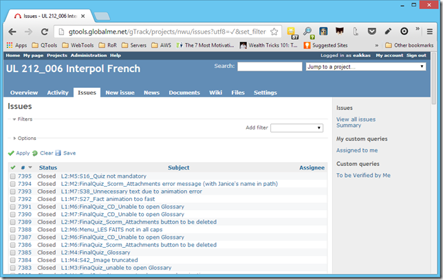 A screenshot of Gtrack. The Localization Testing Tool that Globalme uses for projects