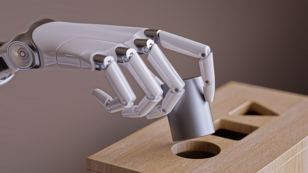 Robotic Hand with Cylinder and Shape Sorting Toy. Machine Learning and Recognition