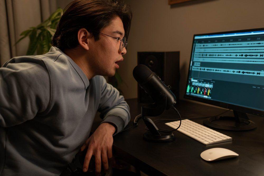 man recording voice